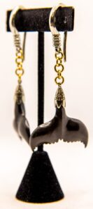 8g Brass & White Brass & Areng Wood Whale Tail Hangers